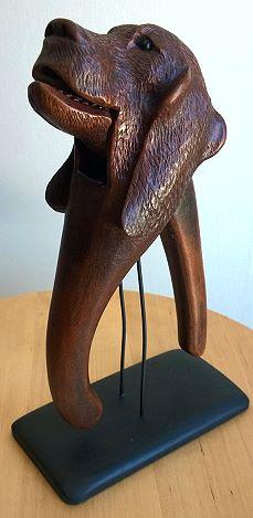 Carved Wood Figural Dog Nutcracker